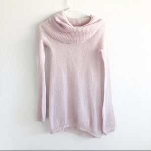 Free People Pink Wool Blend Cowl Neck Sweater